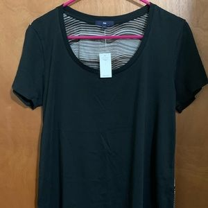 NWT gap mixed material t-shirt black/white striped